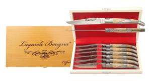 Coffret de 6 couteaux de table Laguiole inox et bois clair