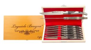 Coffret de couteaux de table Laguiole inox et bois noir